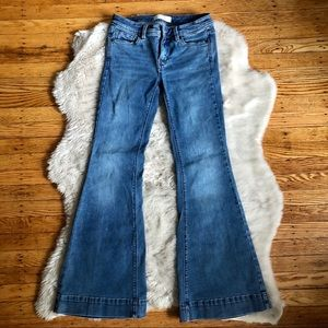 Free People Blue Wash Thick Hem Flare Jeans